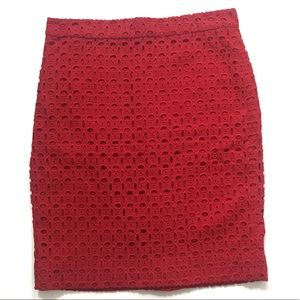 J. Crew The Pencil Skirt, red eyelet, Sz 8.
